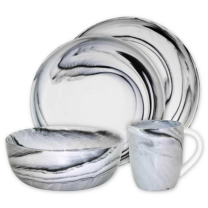 Alternate image 1 for Artisanal Kitchen Supply® Coupe Marbleized Dinnerware Collection in Black/White