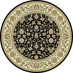 Safavieh Lyndhurst 5' Scroll Round Area Rug in Black