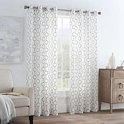 Gia Sheer 84-Inch Grommet Window Curtain Panel in Silver