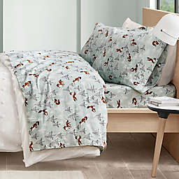 Intelligent Design Foxes Cozy Flannel Queen Sheet Set in Seafoam