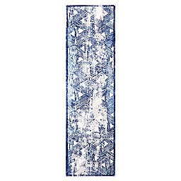 """Home Dynamix Kenmare by Nicole Miller Triangles 2'2"""" x 7'2"""" Runner in Grey/Blue"""