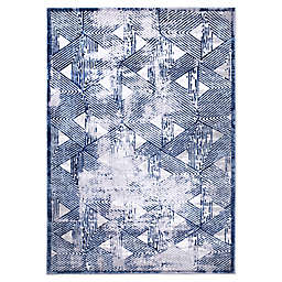 "Home Dynamix Kenmare by Nicole Miller Triangles 5'3"" x 7'2"" Area Rug in Grey/Blue"