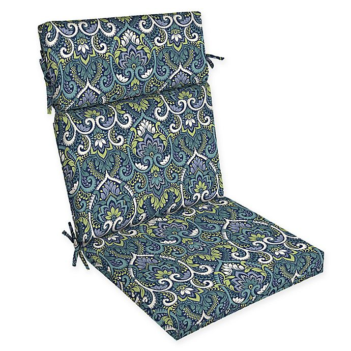 Alternate image 1 for Arden Selections™ Aurora Damask Print Outdoor Dining Chair Cushion in Blue/Multicolor