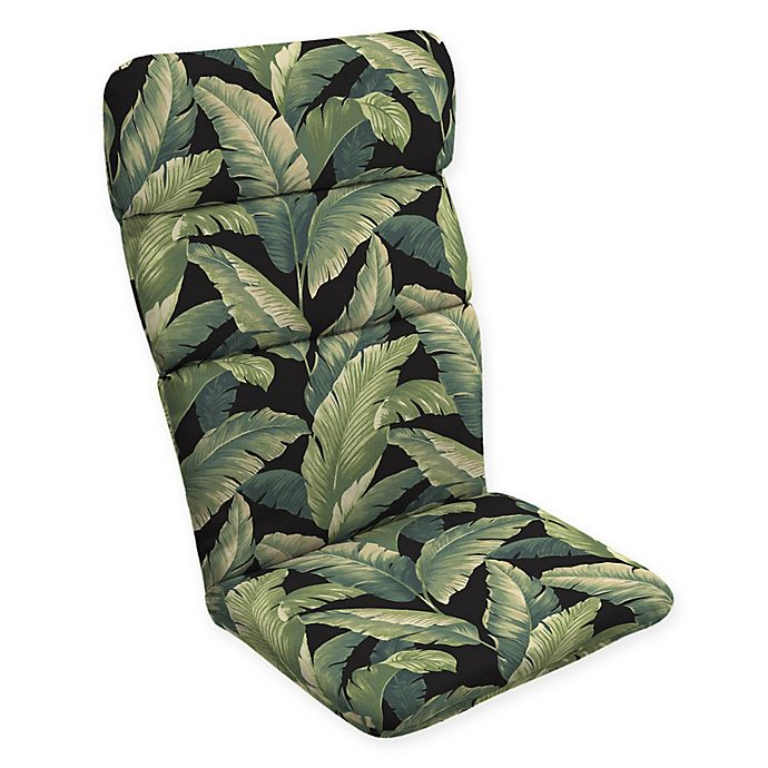 Alternate image 1 for Arden Selections™ Palm Print Outdoor Adirondack Chair Cushion in Black/Green