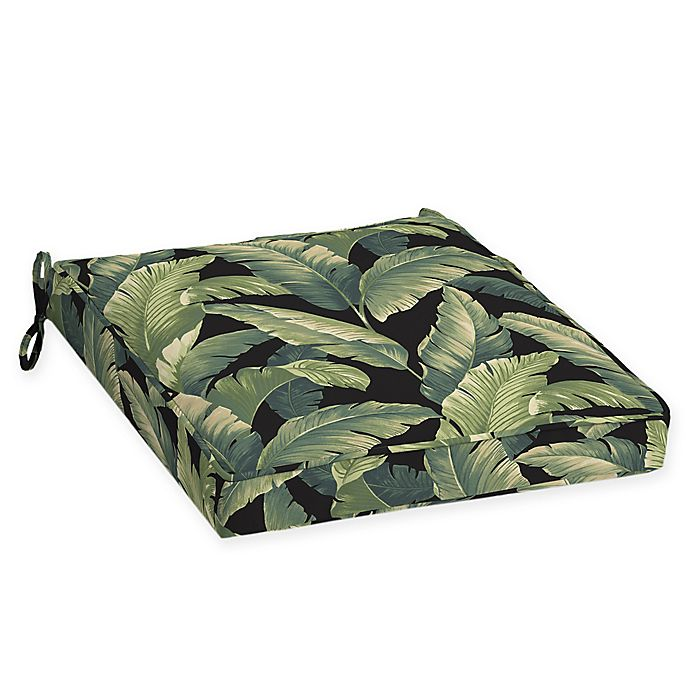Alternate image 1 for Arden Selections™ Palm Leaf Print Outdoor Welted Dining Seat Cushions in Onyx Black (Set of 2)
