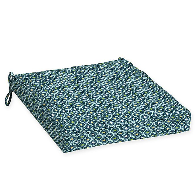 Alternate image 1 for Arden Selections™ Alana Print Outdoor Welted Dining Seat Cushions in Blue/Green (Set of 2)