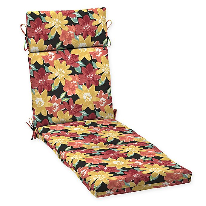 Alternate image 1 for Arden Selections™ Abella Print Outdoor Chaise Lounge Cushion in Ruby Red