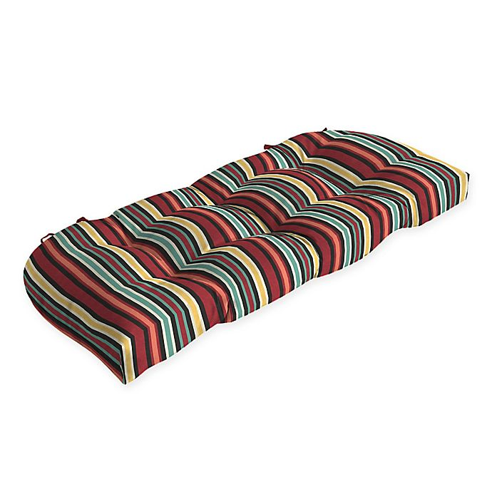 Alternate image 1 for Arden Selections™ Abella Striped Outdoor Wicker Settee Cushion