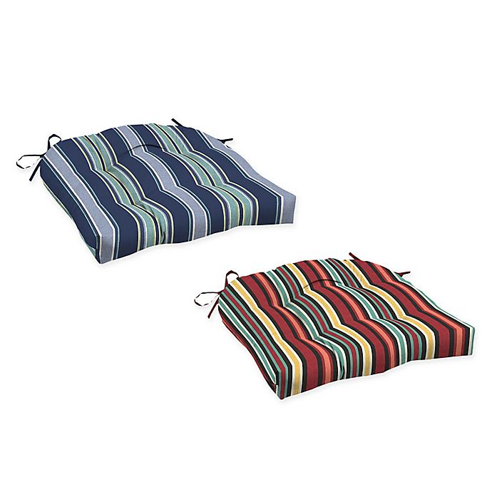 Arden Selections Striped Outdoor Wicker Seat Cushions Set