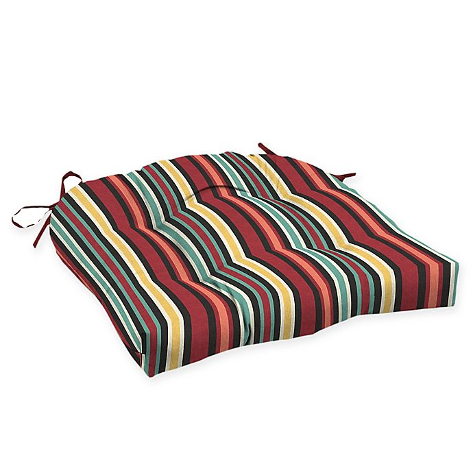 Alternate image 1 for Arden Selections™ Abella Striped Outdoor Wicker Seat Cushion (Set of 2)