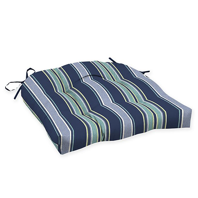 Alternate image 1 for Arden Selections™ Aurora Striped Outdoor Wicker Seat Cushions in Blue (Set of 2)