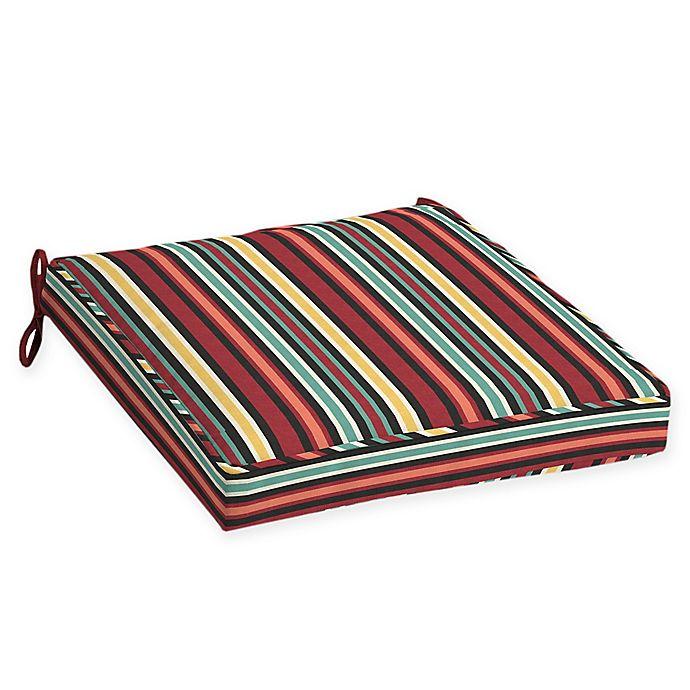 Alternate image 1 for Arden Selections™ Abella Striped Outdoor Dining Seat Cushion (Set of 2)
