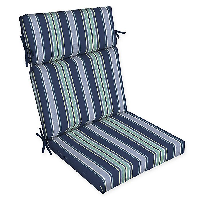 Arden Selections Striped Outdoor Dining Chair Cushion In Blue Bed Bath Beyond