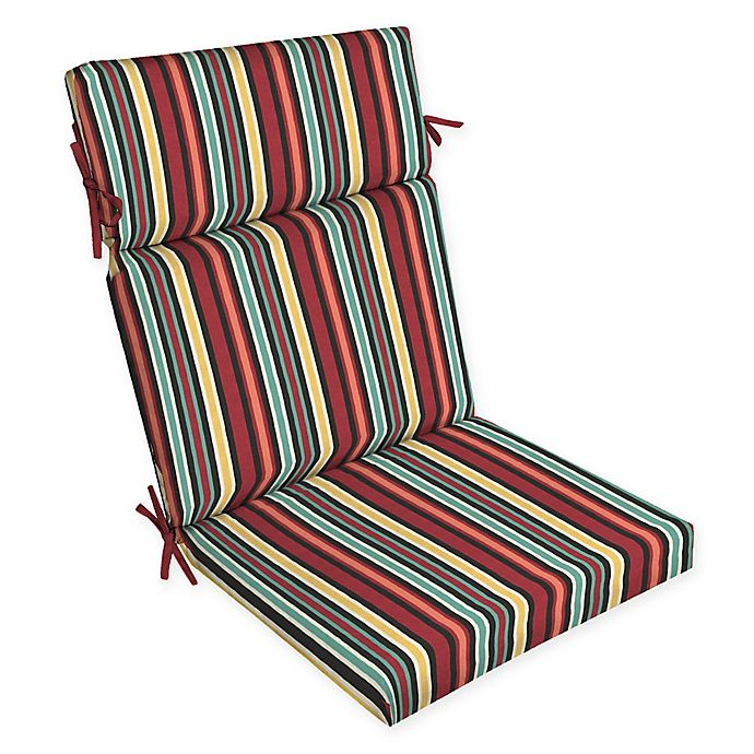 Alternate image 1 for Arden Selections™ Abella Striped Outdoor Dining Chair Cushion in Blue