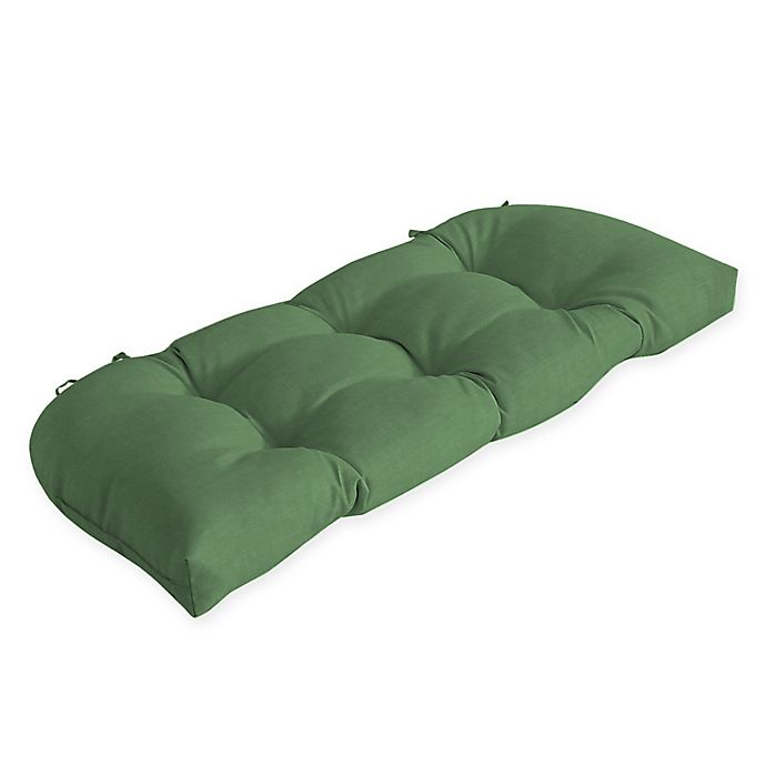 Alternate image 1 for Arden Selections™ Solid Tufted Outdoor Wicker Settee Cushion in Green