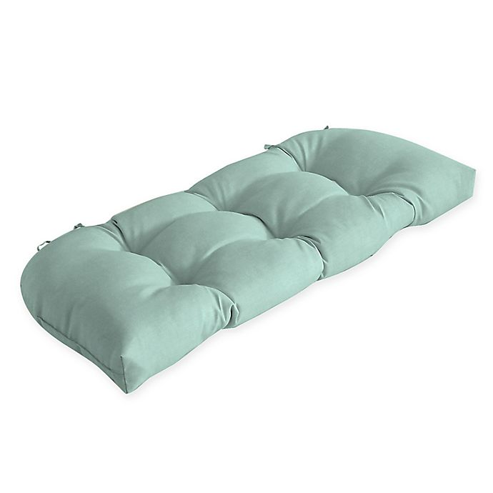 Alternate image 1 for Arden Selections™ Solid Tufted Outdoor Wicker Settee Cushion in Blue/Green