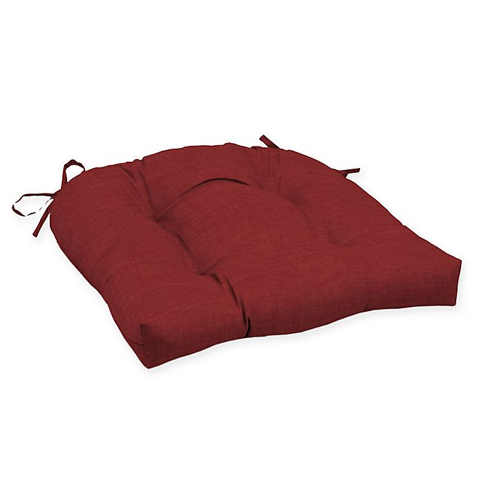Alternate image 1 for Arden Selections™ Solid Tufted Outdoor Wicker Seat Cushion in Red (Set of 2)