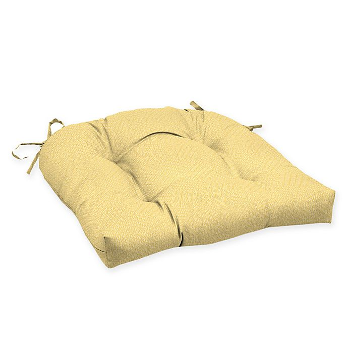 Alternate image 1 for Arden Selections™ Solid Tufted Outdoor Wicker Seat Cushion in Yellow (Set of 2)