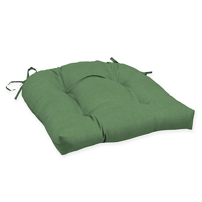 Alternate image 1 for Arden Selections™ Solid Tufted Outdoor Wicker Seat Cushion in Green (Set of 2)