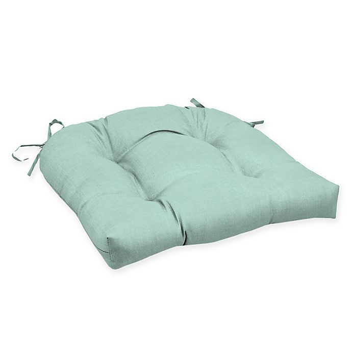Alternate image 1 for Arden Selections™ Solid Tufted Outdoor Wicker Seat Cushion in Blue/Green (Set of 2)