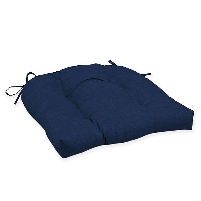 Alternate image 1 for Arden Selections™ Solid Tufted Outdoor Wicker Seat Cushion in Caspian Blue (Set of 2)