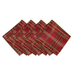 Elrene Home Fashions Shimmering Plaid Napkins in Red/Green (Set of 4)