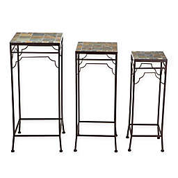 Winsome House Mosaic Plant Stands in Brown (Set of 3)