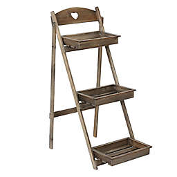 Winsome House 3-Tier Single Ladder Plant Stand in Natural Wood