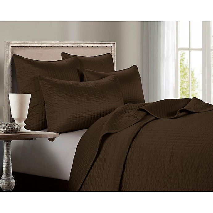 Alternate image 1 for HiEnd Accents Channel Satin Full/Queen Quilt in Chocolate
