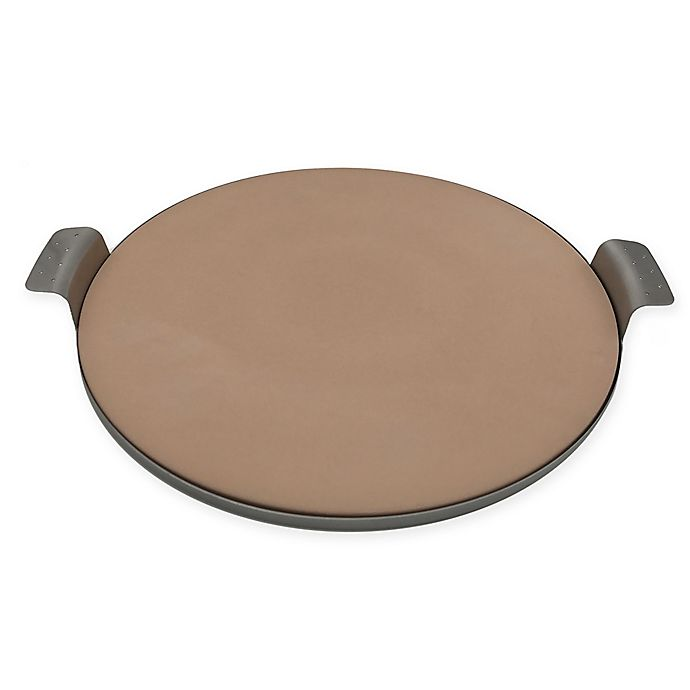 Alternate image 1 for Artisanal Kitchen Supply® 15-Inch Pizza Stone with Stainless Steel Tray