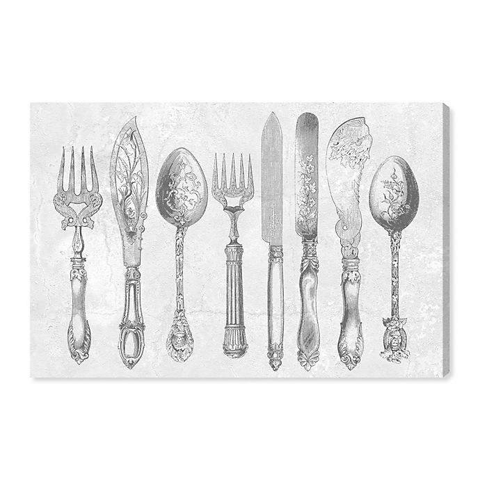 Oliver Gal Royal Cutlery Canvas Wall Art In Grey Bed Bath Beyond