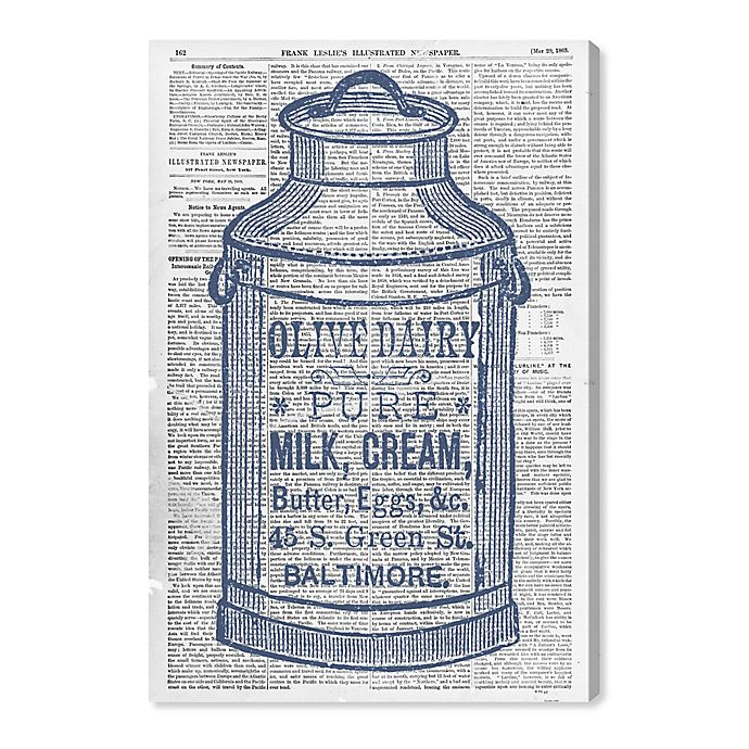 Alternate image 1 for Oliver Gal™ Vintage Olive Dairy 20-Inch x 30-Inch Canvas Wall Art in Blue
