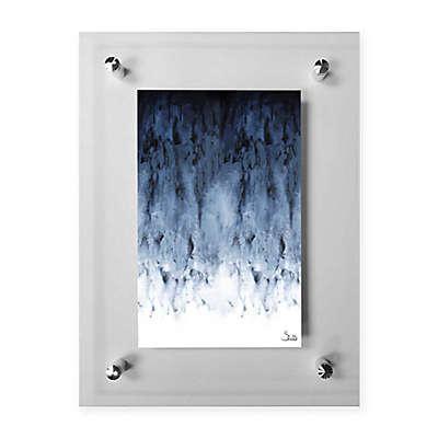 Black Watery Acrylic Wall Art in Grey