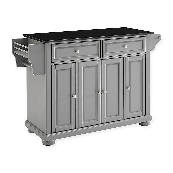 Alternate image 1 for Alexandria Solid Granite Top Kitchen Island in Black/Grey