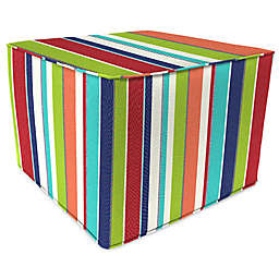 Stripe Outdoor 20-Inch Square Pouf/Ottoman in Sunbrella® Fabric