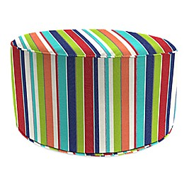 Stripe Outdoor 24-Inch Round Pouf Ottoman in Sunbrella® Fabric