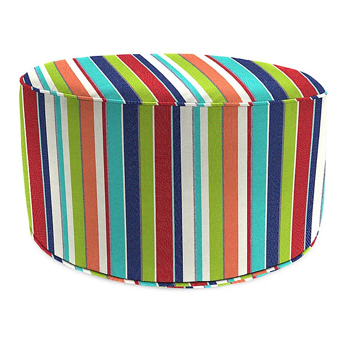 Alternate image 1 for Stripe Outdoor 24-Inch Round Pouf Ottoman in Sunbrella® Fabric
