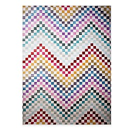 Home Dynamix Marquee Checkered Chevron Multicolor Area Rug