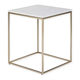 Simpli Home Kline Accent Table in White/Gold