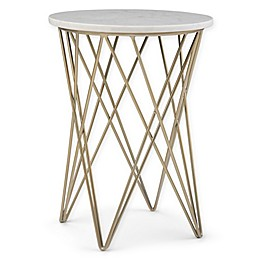 Simpli Home Sandy Accent Table in White/Gold