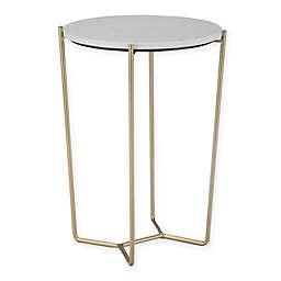 Simpli Home Dani Accent Table in White/Gold