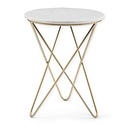 Simpli Home Gabon Accent Table in White/Gold