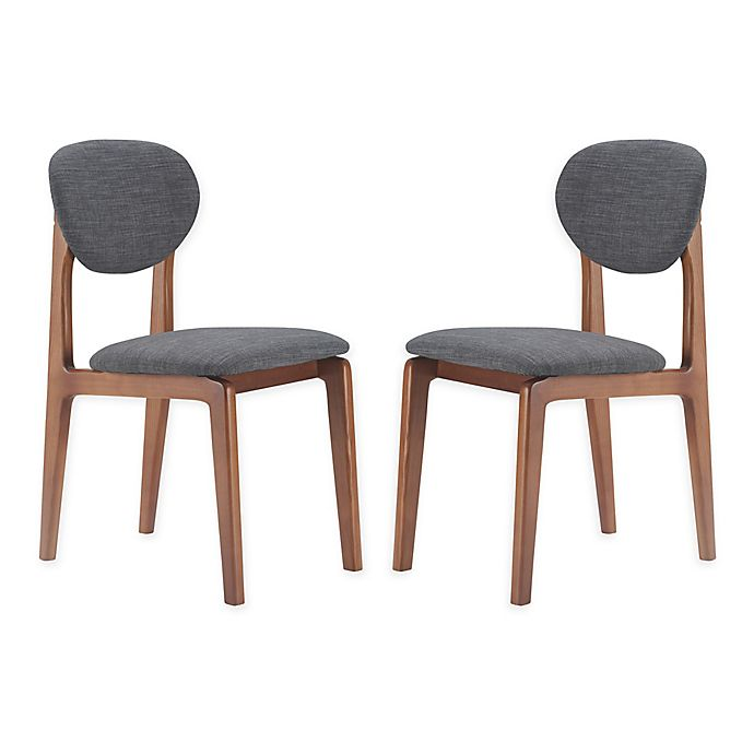 Alternate image 1 for Elle Décor® Polyester Upholstered Coralie Dining Chairs in Dark Gray (Set of 2)