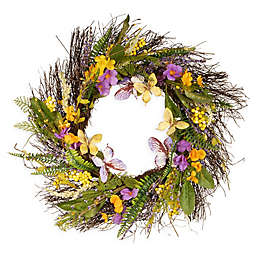 National Tree Company Mixed Flowers 24-Inch Wreath in Purple