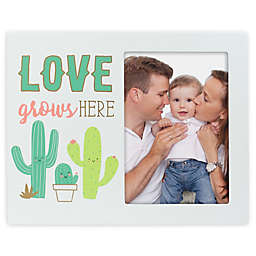 """Pearhead® 3.5-Inch x 5-Inch """"Love Grows Here"""" Cactus Picture Frame in White"""