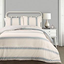 Lush Decor Farmhouse Stripe Reversible Comforter Set