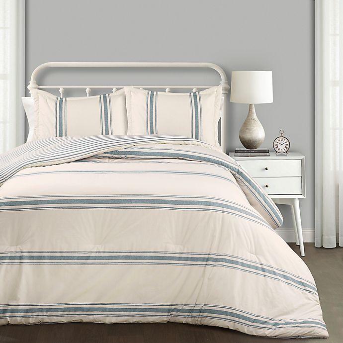 Alternate image 1 for Lush Decor Farmhouse Stripe Reversible Comforter Set
