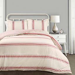 Farmhouse Stripe Reversible Full/Queen Comforter Set in Red