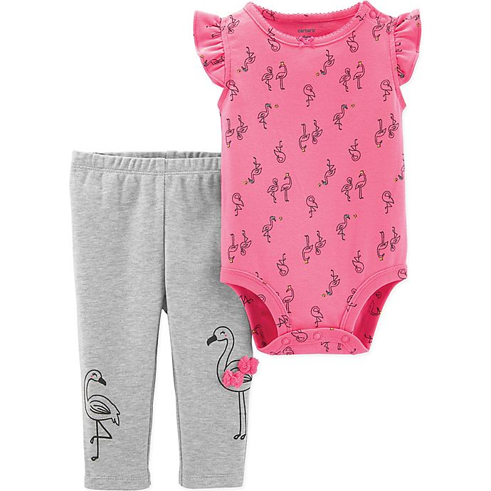 Alternate image 1 for carter's® 2-Piece Allover Flamingo Print Flutter Bodysuit and Pant Set in Pink
