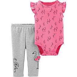 carter's® 2-Piece Allover Flamingo Print Flutter Bodysuit and Pant Set in Pink